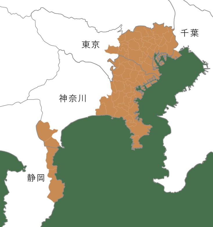 `対応エリアマップ地図【東京都、神奈川県、千葉県】