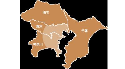 `対応エリアマップ地図【東京都、神奈川県】